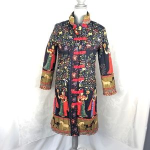 Chinese flower pattern thick padded long jacket M